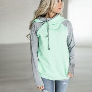 LAST ONE! Asymmetrical Zip Double Hood Sweatshirt